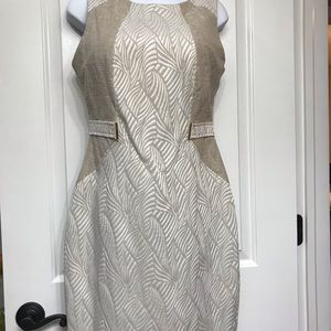 Ellen Tracy Dress. Taupe and Cream. Size 6